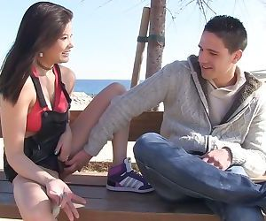 Japanese chick Miyuki Son picks up a guy at the beach for oral sex games