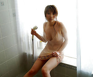 Naughty asian babe with nice tits Towa Aino taking bath in her lingerie