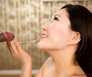 Japanese female Kazuki Yuu drips jizz from her chin while sucking cock