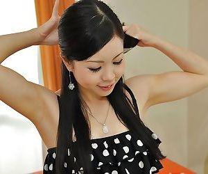 Asian teenage cutie with hairy gash Mana Kikuchi taking shower