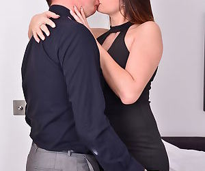 Hot mom seduces older date to ride hard cock wearing stockings & high heels
