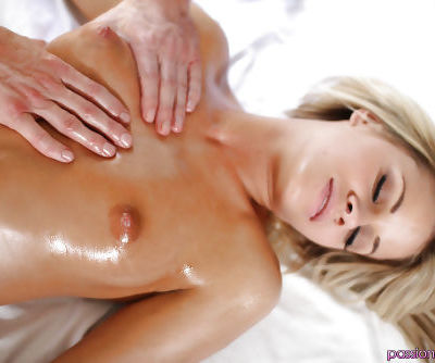 Sexy cutie Jessa Rhodes gets her body oiled and massaged before hardcore bang