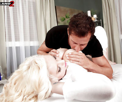 Tight blonde with amazing juggs Brittany Kendall shakes the cock in heavy mode