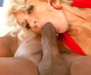 Horny nan Georgette Parks has jizz run down her large tits thanks to a BBC