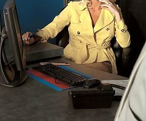 Busty blonde MILF Dallas Diamond seduces her client at travel agency office