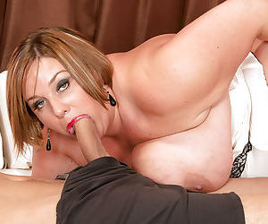 Mature mom Kendra Grace takes cumshot on fat tits after giving blowjob
