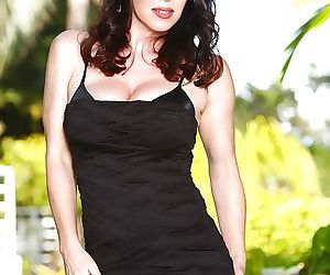 Brunette solo girl RayVeness flashing upskirt underwear outdoors