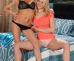 Blonde lady Devon and her stepdaughter Alli Rae undress for lesbian play