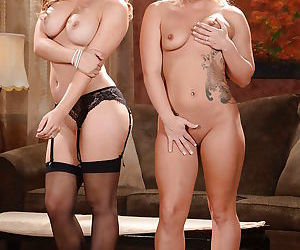 Lesbian mommy in red lingerie seduces young blonde into dyke sex
