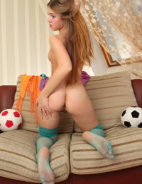Erotic young Hanna A spreads her tiny ass wearing sexy sheer stockings