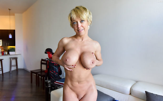 Blonde plays with big tits- spreads pussy lips and buttocks