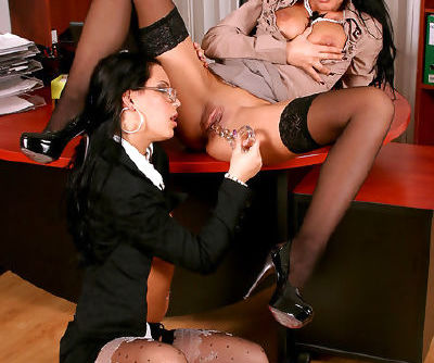 Amazing brunettes in a staggering office lesbian show