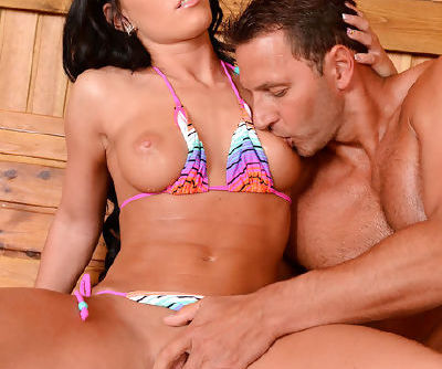 Horny Athina enjoys huge cock drilling her from behind while in the sauna