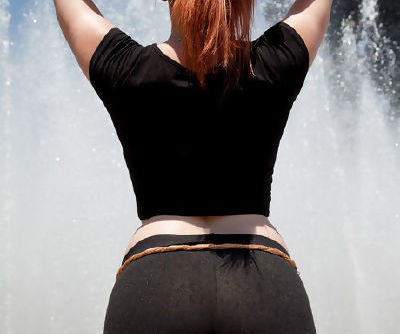 Wonderful Lilith Lust shows of her amazing ass through those black tights