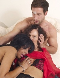 Older British housewives India F & Sophia share the services of a gigolo