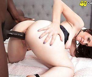 Brunette lady Christina Sapphire drips cum from her twat after interracial sex
