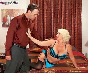 Mature pornstar Joanna Storm returns to action in a hardcore scene