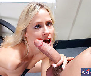 Two guys fuck this horny mature blonde on top of a desk - part 1511