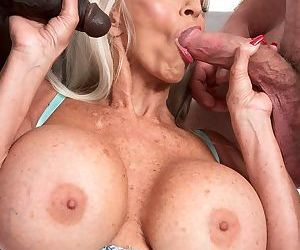 Hot older lady sally dangelo fucks a black and white man at the same time - part 1254