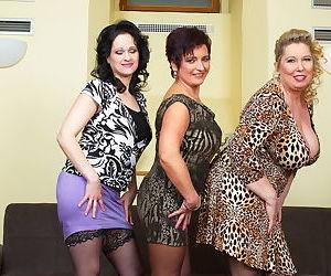 Three curvy euro matures posing and masturbating - part 523