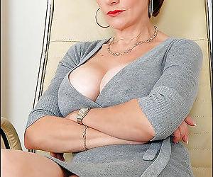 Seductive mature secretary in cotton dress spreading her sexy le - part 1540