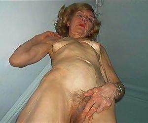 Extremely skinny granny posing - part 1065
