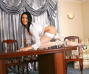 Nelli is an exotic anilos milf who teases us with her lacy white lingerie - part 2089