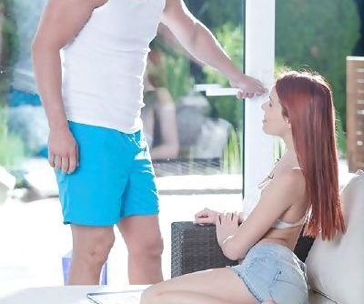 Tiny redhead teen Susana Melo taking it hard up her virgin asshole