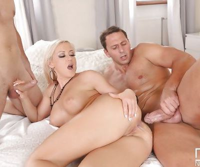 Effective European babe Vicktoria Redd experiences double penetration - part 2