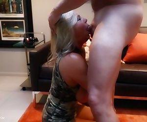 Aged blonde housewife Sandra Otterson masturbating after deepthroat blowjob
