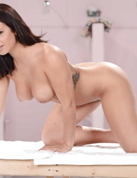Curvy brunette babe Keisha Grey letting her nice melons loose - part 2
