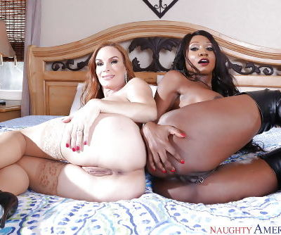 Buxom white and ebony wives Diamond Foxxx and Diamond Jackson in latex - part 2