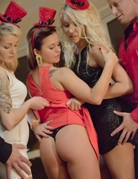 Cosplay girl Bella Baby & friends bare big tits & suck cock on knees in orgy