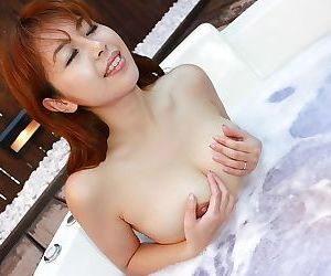 Redhead asian hottie Yuriko Hiratsuka taking bath and playing with herself