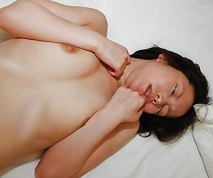 Perky asian MILF gives head and gets fucked for a pussy creampie