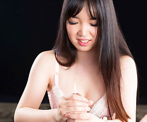 Glorious Japanese brunette shows her sexy pussy and strokes a nice dick in POV