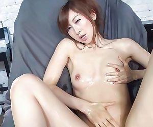 Oiled asian masturbates and sucks cocks for facial - part 1051