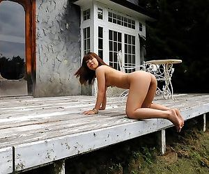 Naughty asian youzc poses nude outdoors shows body - part 3541