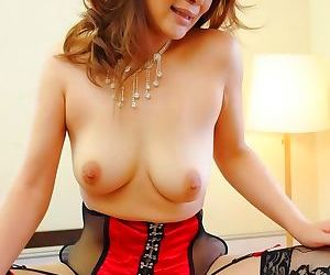 Minako uchida asian with red black corset takes tools in holes - part 1143