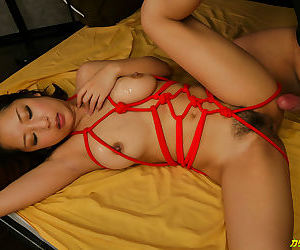 Multiple toy vibrators for a tied up japanese babe - part 4156
