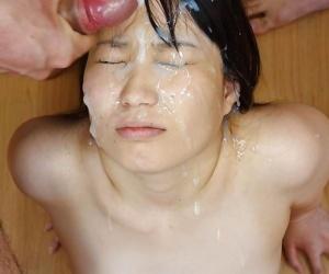 Asian girls getting massive bukkake facials - part 1416