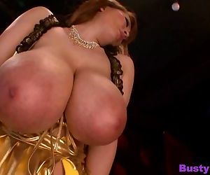 Hitomi tanaka wearing a gold dress covering her big tits - part 2931