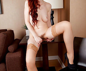 Mystique strips off her dotted panties to spread her hairy snatc - part 3240