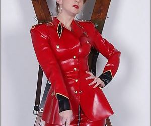 Red rubber outfit milf dominatrix - part 3187