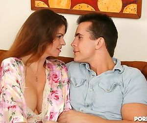 A well hung stud nailing his busy stepmother on the sofa - part 105