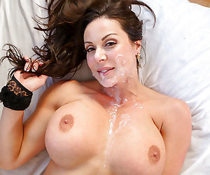 Pure brunette milf gets cum on face after pov blowjob - part 3348