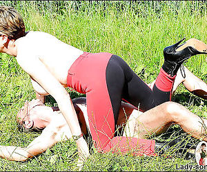 Topless femdom torturing her slave male outdoor - part 2918