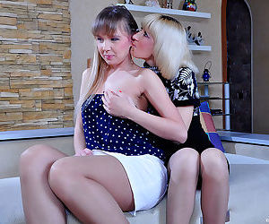 Adorable ponytailed cutie seduced by a milf into lesbian kisses - part 2580