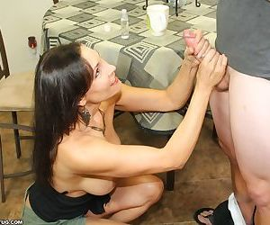 Milf raven jerking off her step son with huge cock - part 9
