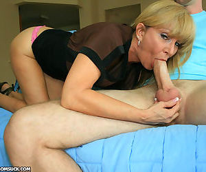Dirty mommy sucking her stepsons huge dick - part 16